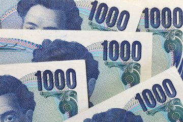 Close - up of japanese currency yen bank notes