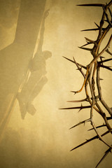 Easter background, Crown of Thorns and Crucifixion on Parchment