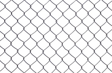Wire mesh fence isolated on a white background