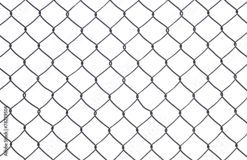 Wire mesh fence isolated on a white background - 78229504