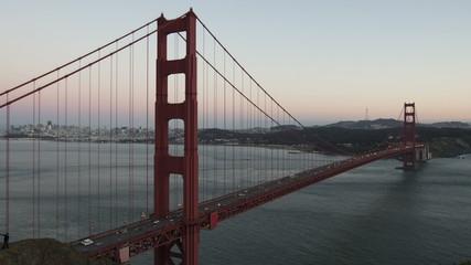 Time lapse zoom in Golden Gate Bridge Twilight to night
