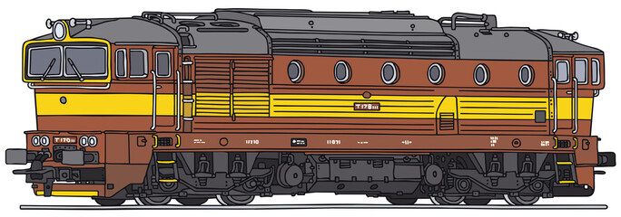 Old diesel locomotive, vector illustration
