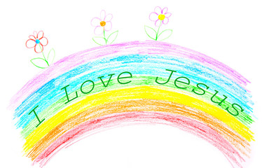 Child's drawing, I love Jesus text writing on rainbow