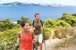 Leinwanddruck Bild - Hikers hiking in Mallorca mediterranean Europe