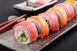 Salmon & tuna sushi roll - 78230752