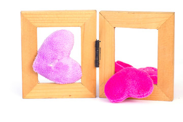 pink fabric Wood frame - Stock Image