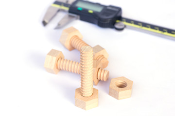 Wooden nuts and bolts - Stock Image