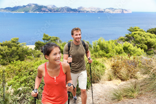 Foto op Canvas Kamperen Hikers hiking in Mallorca mediterranean Europe