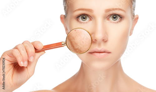 Leinwanddruck Bild concept skincare. Skin of woman with magnifier before and after