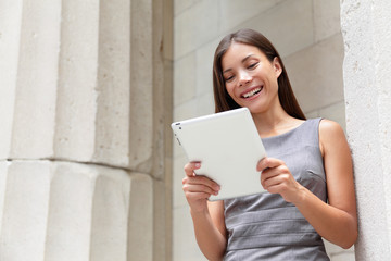 Businesswoman lawyer using digital tablet app
