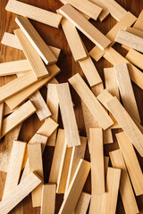 Wooden blocks on wood background