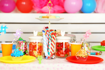 Prepared birthday table with sweets for children party