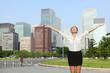 Happy success smart professional woman in Tokyo