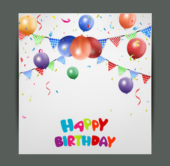 Birthday card design with colorful balloons