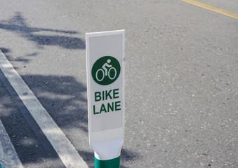 Bike lane signage on the street