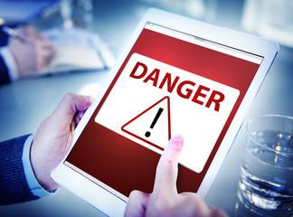 Man Using Digital Tablet Virus Concept