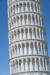 Close up view of Leaning Tower of Pisa in Tuscany, a Unesco Worl