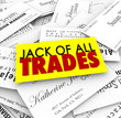 Jack of All Trades Business Cards Diverse Versatile Skills Exper