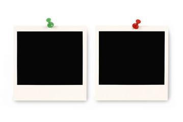 Two blank polaroid prints
