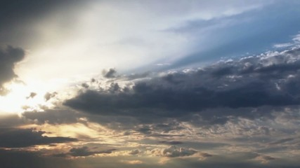 timelapse clouds in summer in blue sky with sun