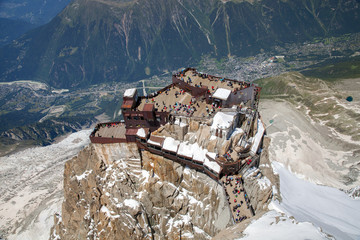 The viewing point on Aiguille du Midi in Chamonix valley
