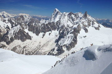 Group of climbers ascend from Vallee Blanche