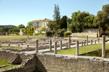 The view of Roman Ruins in Vaison-la-Romaine, France