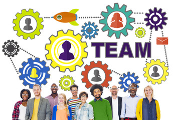 People Connection Togetherness Gear Corporate Team Concept