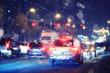 Christmas night blurred European landscape on the street