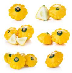Yellow zucchini isolated on white background