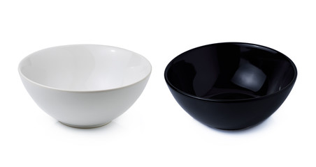 black and white bowl isolated on white background