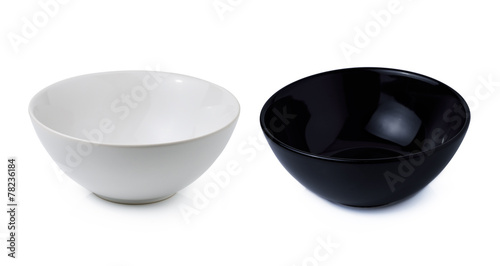 black and white bowl isolated on white background - 78236184