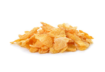 Pile of corn flakes isolated on white.
