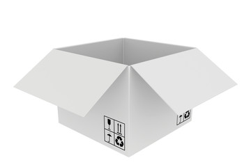 white cardboard boxes with special characters