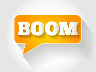 BOOM text message bubble, business concept