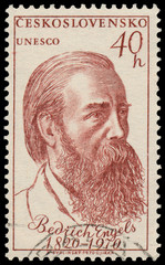 Stamp printed in Czechoslovakia shows portrait Friedrich Engels