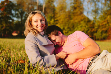Young couple on meadow