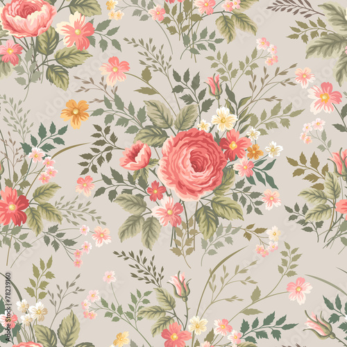 Cotton fabric seamless floral pattern with roses