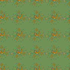 Seamless texture with flowers, birds and insects. Seamless patte