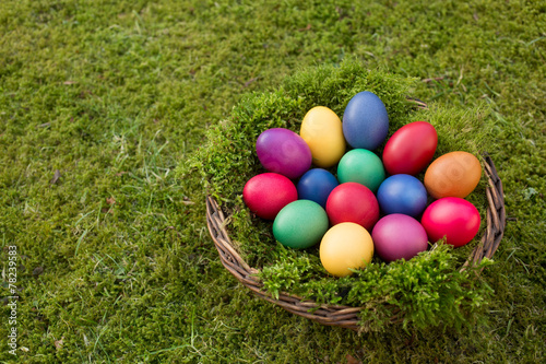 canvas print picture Colored eggs in a basket