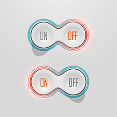 Button Switches with Backlight. On and Off. Stock Vector