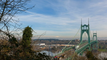 Time Lapse of Traffic on St. Johns Bridge in Portland Oregon