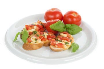 italian bruschetta with tomato and basil