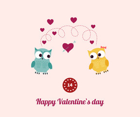 Lovers and happy owls with hearts.