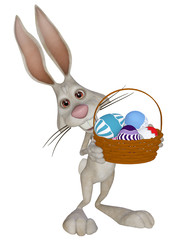 cartoon Easter  bunny with Easter eggs