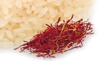 saffron of morocco close up on white background