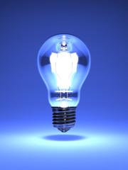 Electric Bulb On Blue