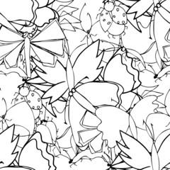Cute doodle seamless pattern made of butterflies