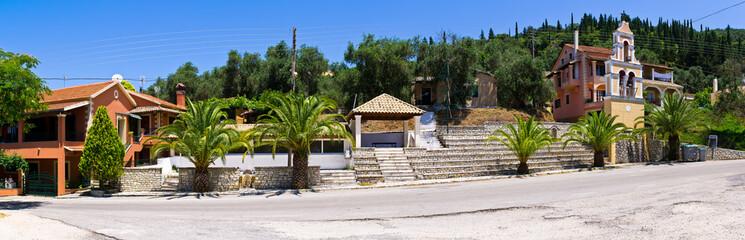 Panoramic view in old village - Klimatia, Corfu, Greece