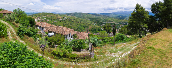 Landscape with house in Berat, Albania